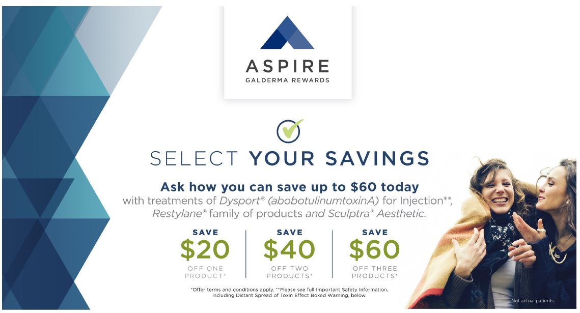 Save up to $60 on Dysport, Restylane and Sculptra